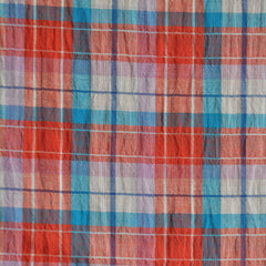 Linen Blend Plaid Shirting Orange/Turq SY - Sold Out - Style Maker Fabrics