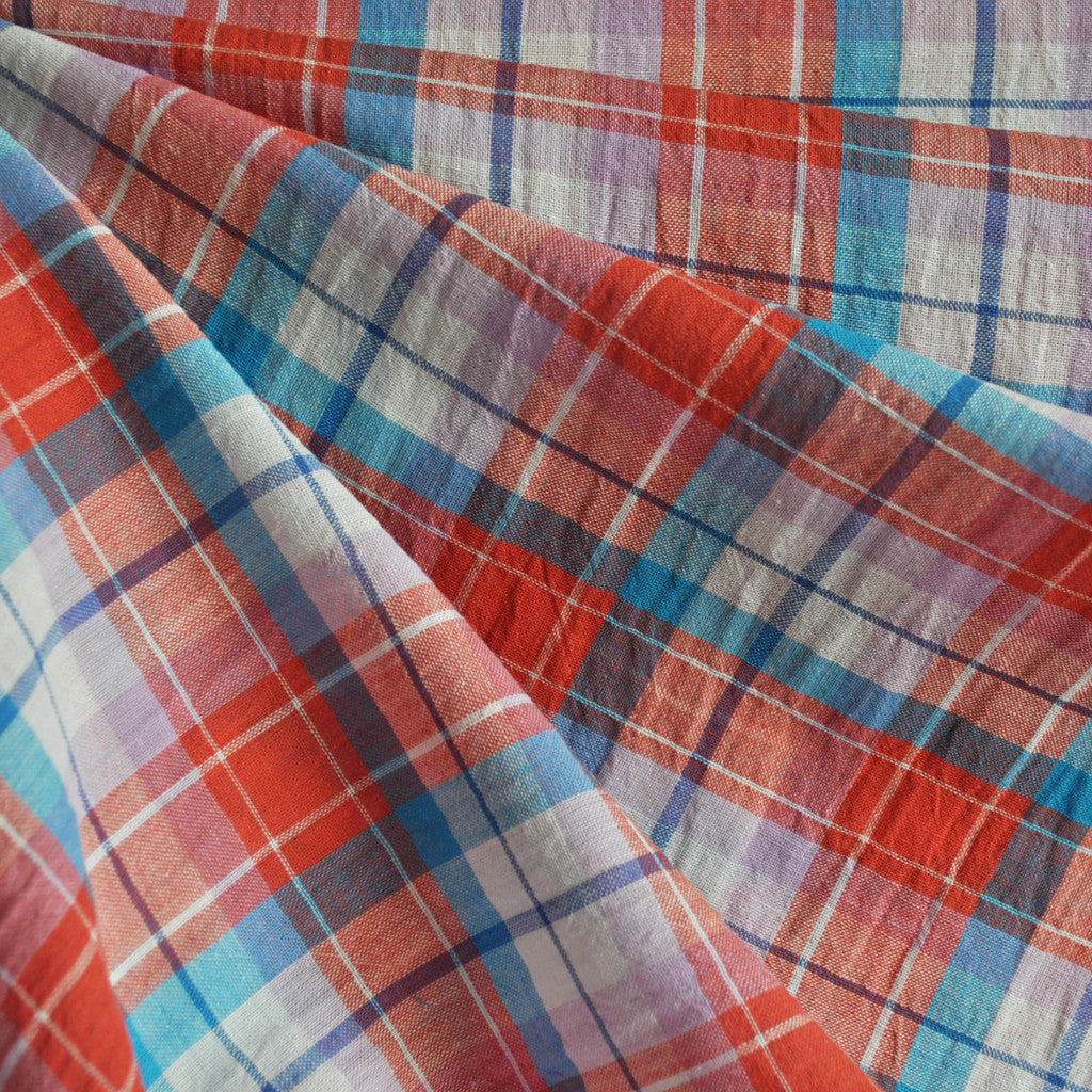 Linen Blend Crinkle Plaid Shirting Orange/Turq - Sold Out - Style Maker Fabrics