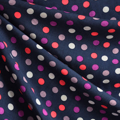 Rayon Challis Dot Navy - Sold Out - Style Maker Fabrics