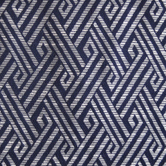 Greek Jacquard Suiting Navy/Ivory - Sold Out - Style Maker Fabrics