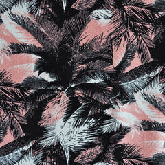 Texture Double Knit Palms Coral/Black - Sold Out - Style Maker Fabrics