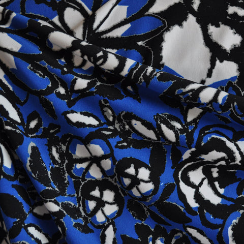 Sketch Floral ITY Knit Royal/Black