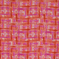 Polyester Chiffon Abstract Plaid Pink/Coral - Fabric - Style Maker Fabrics