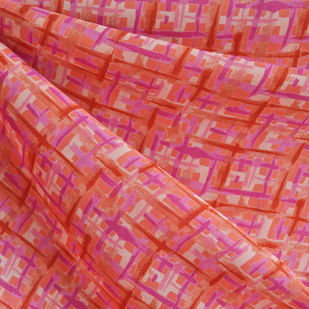 Polyester Chiffon Abstract Plaid Pink/Coral - Sale - Style Maker Fabrics
