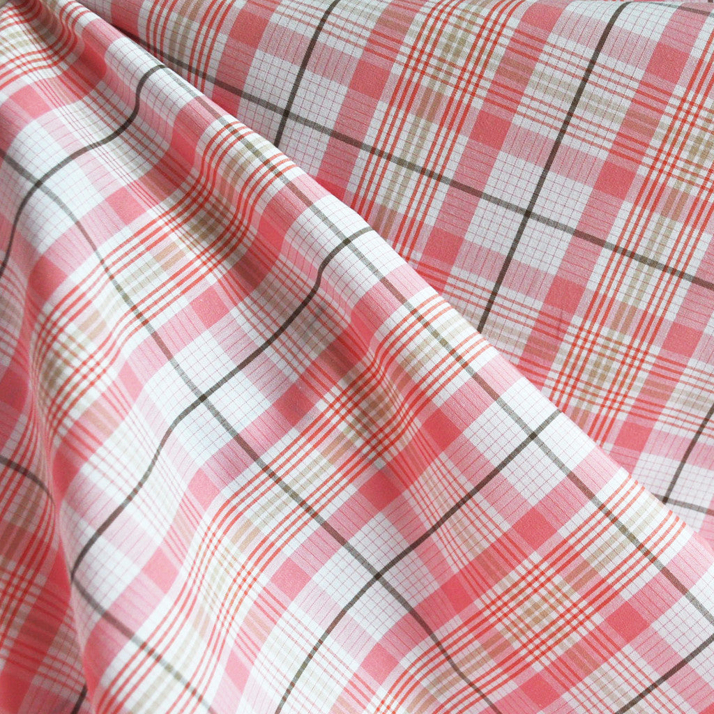 Yarn Dyed Shirting Plaid Salmon/White SY - Sold Out - Style Maker Fabrics