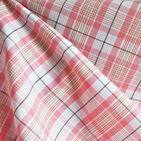Yarn Dyed Shirting Plaid Salmon/White