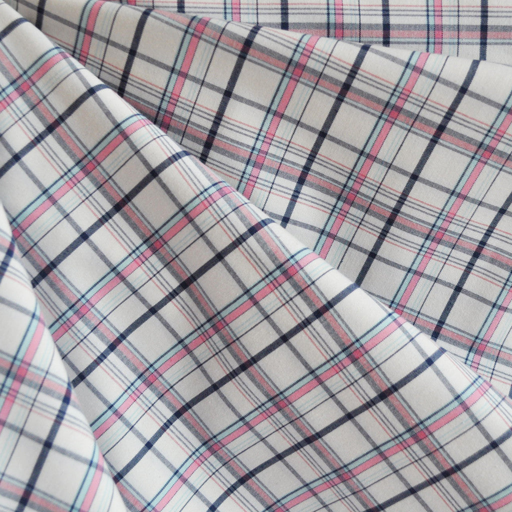 Yarn Dyed Shirting Plaid Pink/Navy - Fabric - Style Maker Fabrics
