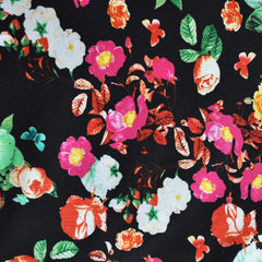 Floral ITY Knit Black/Fuchsia SY - Sold Out - Style Maker Fabrics