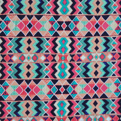 Jersey Knit Aztec Print Black/Coral - Sold Out - Style Maker Fabrics