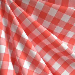 Carolina Gingham Shirting Coral/White - Sold Out - Style Maker Fabrics