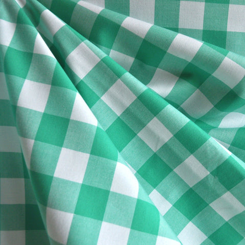 Carolina Gingham Shirting Seafoam/White