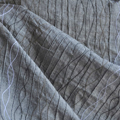 Embroidered Pintuck Chambray Charcoal - Sold Out - Style Maker Fabrics