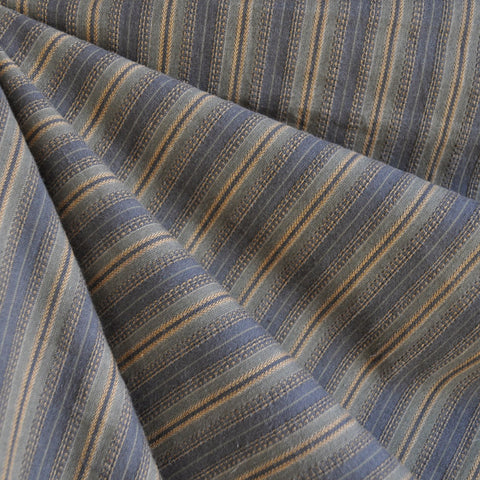 Homespun Stripe Cotton Shirting Slate