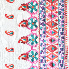 Embroidered Border Cotton Lawn White SY - Sold Out - Style Maker Fabrics