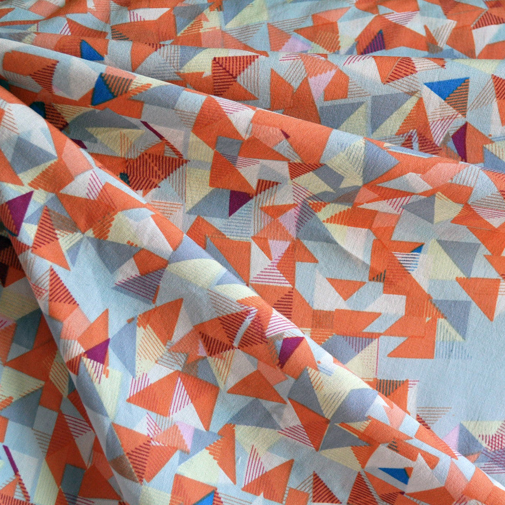 Rayon Challis Triangle Geometric Sherbet/Grey - Sold Out - Style Maker Fabrics