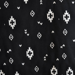 Tribal Accent Rayon Challis Black/Cream - Sold Out - Style Maker Fabrics