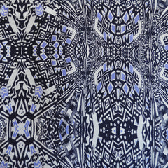 Block Geometric Silk Crepe Print Navy/Periwinkle - Sold Out - Style Maker Fabrics