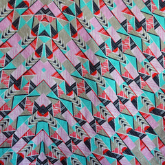 Linen Blend Shirting Geometric Pink/Aqua SY - Sold Out - Style Maker Fabrics