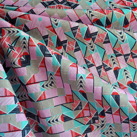 Linen Blend Shirting Geometric Pink/Aqua
