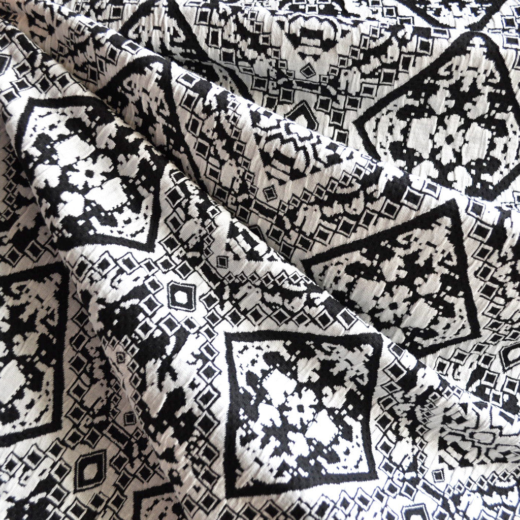 Medallion Jacquard Double Knit Black/White - Sold Out - Style Maker Fabrics
