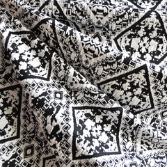 Medallion Jacquard Double Knit Black/White - Fabric - Style Maker Fabrics