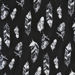 Feather Print Poly Crepe Black - Fabric - Style Maker Fabrics