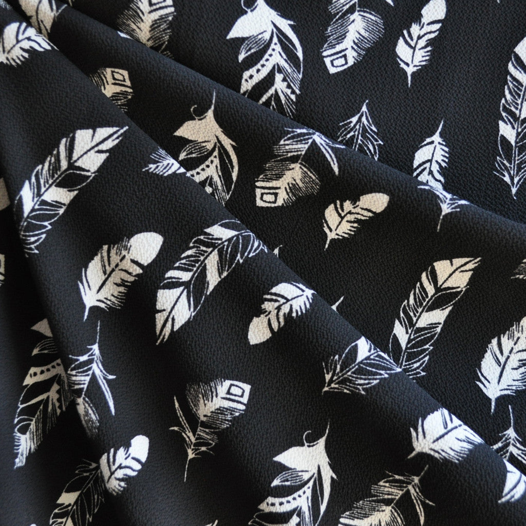 Feather Print Poly Crepe Black SY - Sold Out - Style Maker Fabrics