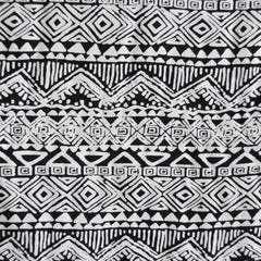 Rayon Challis Tribal Stripe Black/White SY - Sold Out - Style Maker Fabrics