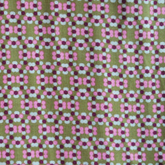 Rayon Challis Vintage Geometic Floral Mustard/Pink SY - Sold Out - Style Maker Fabrics