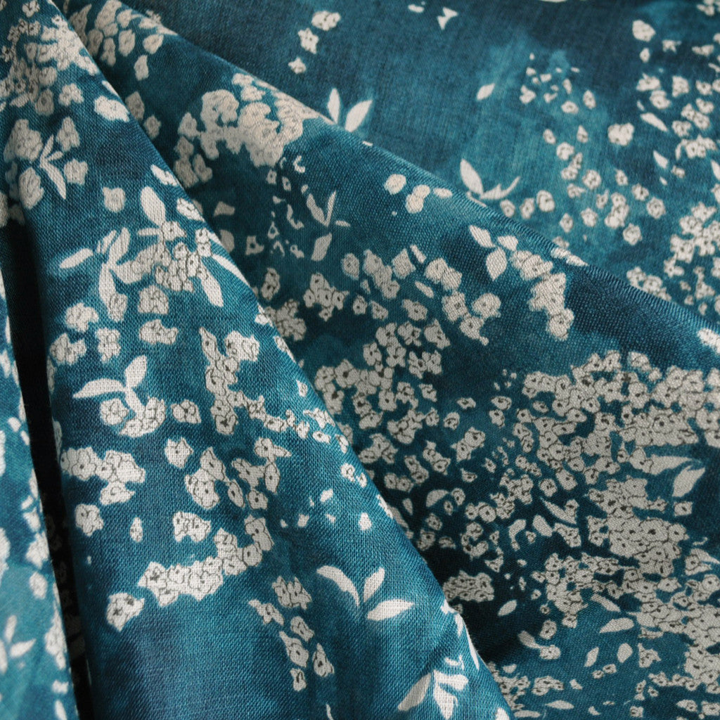 Japanese Nani Iro Watercolor Linen Teal - Sold Out - Style Maker Fabrics