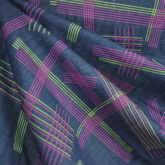 Japanese Double Parallels Navy/Plum/Green - Fabric - Style Maker Fabrics