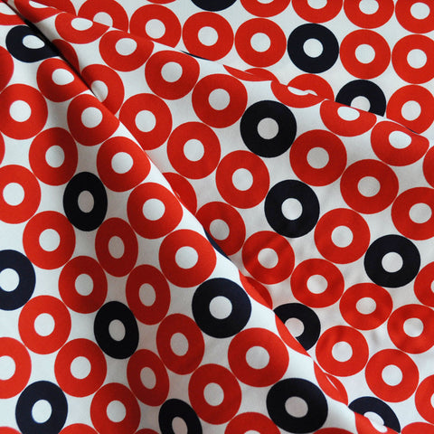 Rotary Club Ring Rings Rayon Poplin Red