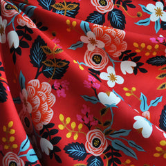 Les Fleurs Birch Floral Rayon Poplin Red - Sold Out - Style Maker Fabrics