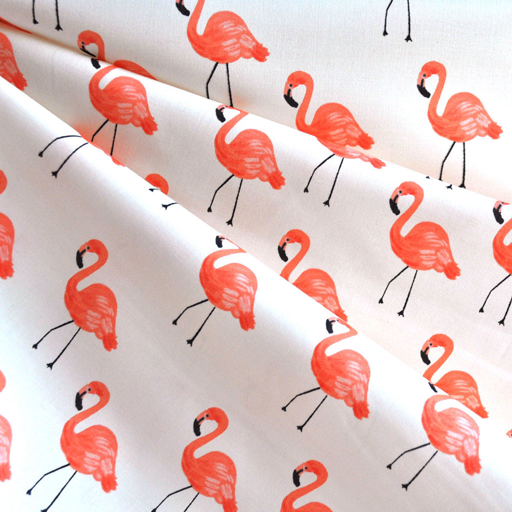 Les Fleurs Flamingos Lawn Ivory - Sold Out - Style Maker Fabrics