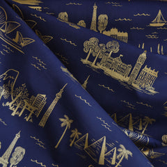 Les Fleurs City Toile Lawn Navy - Sold Out - Style Maker Fabrics