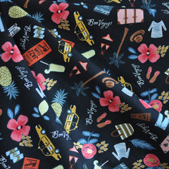 Les Fleurs Bon Voyage Cotton Black - Sold Out - Style Maker Fabrics