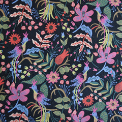 Les Fleurs Folk Birds Linen Blend Black - Sold Out - Style Maker Fabrics