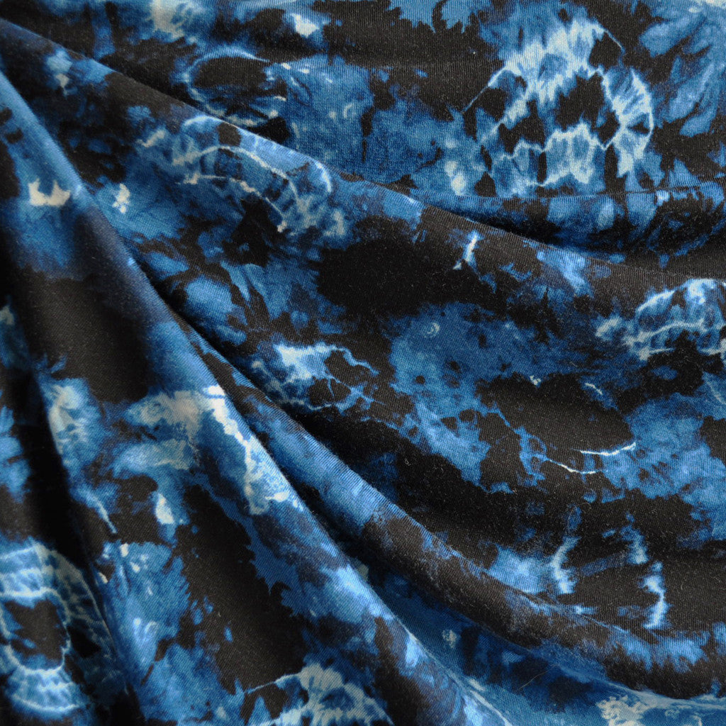 Burst Tie Dye Jersey Knit Indigo/Black - Sold Out - Style Maker Fabrics