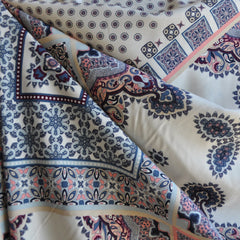 Bohemian Block Print Rayon Challis Cream/Multi - Sold Out - Style Maker Fabrics