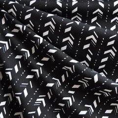Crepe Texture Ponte Knit Stitch Print Black/White - Sold Out - Style Maker Fabrics