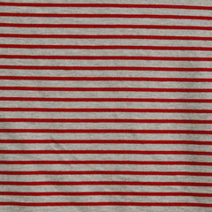 Jersey Knit Pencil Stripe Oatmeal/Red - Sold Out - Style Maker Fabrics