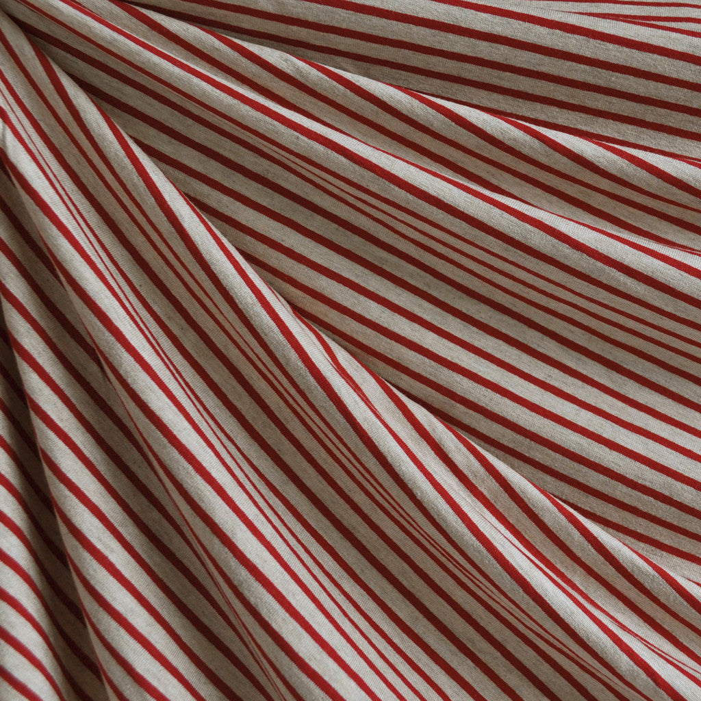 Jersey Knit Pencil Stripe Oatmeal/Red - Fabric - Style Maker Fabrics