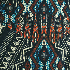 Tribal Block Print ITY Knit Black/Teal/Rust - Fabric - Style Maker Fabrics