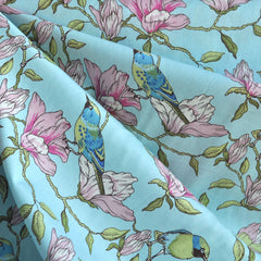 BedHead Botanical Birds Cotton Lawn Blue - Sold Out - Style Maker Fabrics