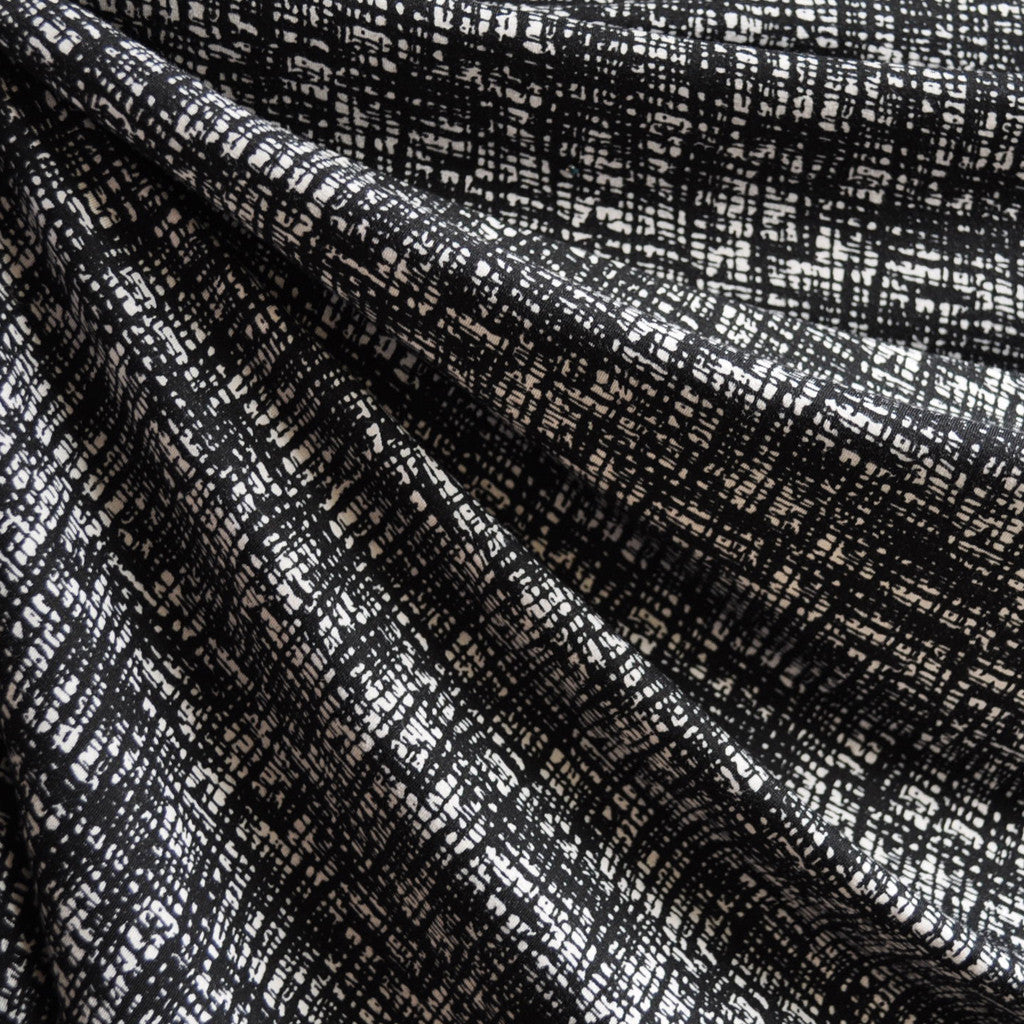 Jersey Knit Abstract Tweed Black/Cream - Fabric - Style Maker Fabrics