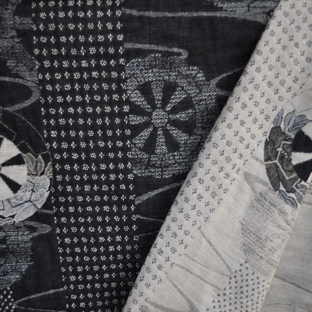 Japanese Double Weave Jacquard Black/Cream - Sold Out - Style Maker Fabrics