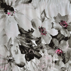 Painterly Floral Rayon Challis Grey/Vanilla - Sold Out - Style Maker Fabrics