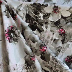 Painterly Floral Rayon Challis Print Grey/Vanilla - Sold Out - Style Maker Fabrics