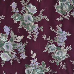 Romantic Floral Rayon Crepe Aubergine/Orchid - Sold Out - Style Maker Fabrics