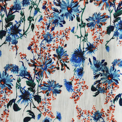 Daisy Floral Rayon Crepe Cream/Blue - Fabric - Style Maker Fabrics